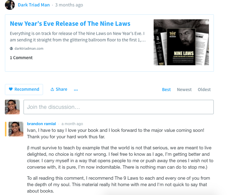 9 Laws of the Dark Triad Man review